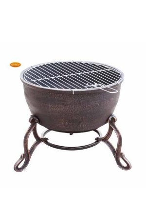 Elidir Decorative Cast Iron Fire Bowl with BBQ Grill