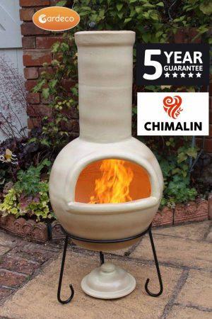 - SEMPRA large chimenea made of Chimalin AFC, inc lid & stand, glazed cappucino
