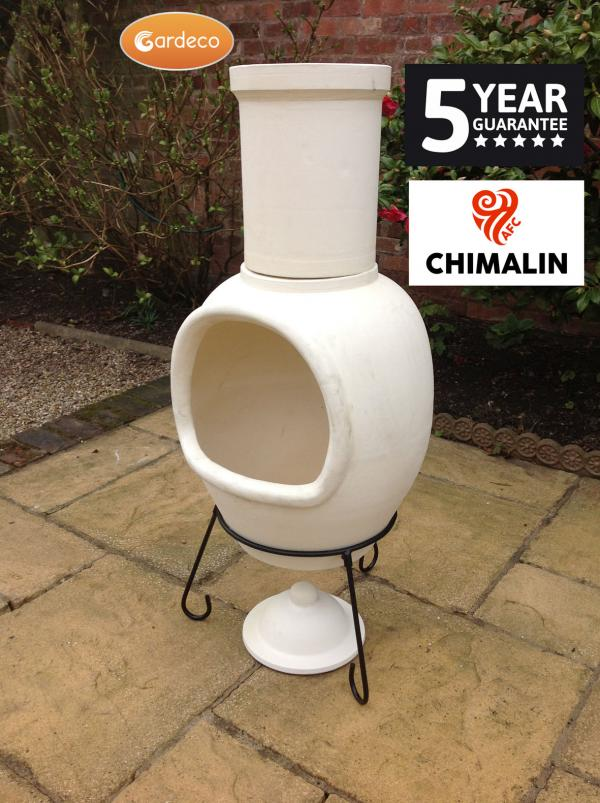 - ASTERIA extra-large chimenea made of Chimalin AFC, inc lid & stand, natural clay
