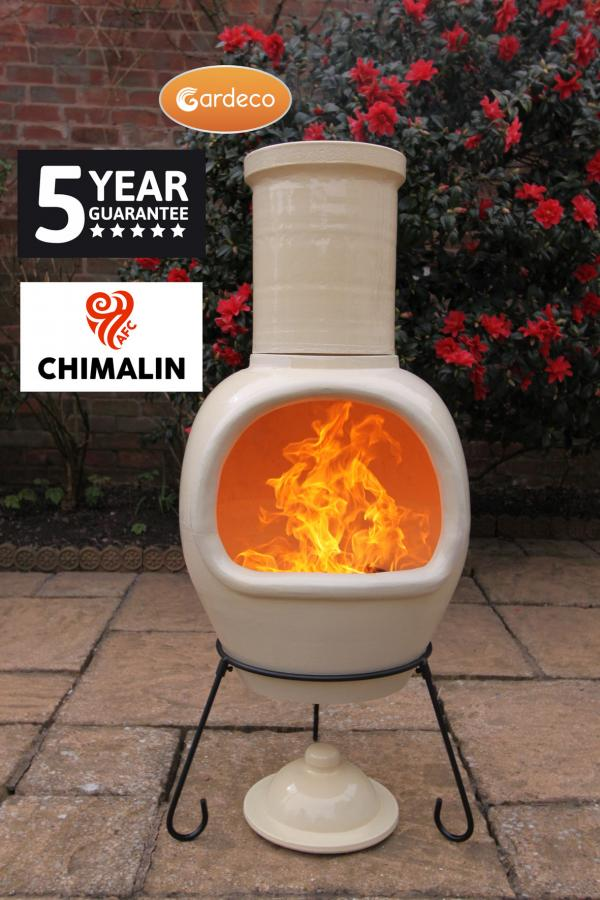 - ASTERIA extra-large chimenea made of Chimalin AFC, inc lid & stand, glazed ivory