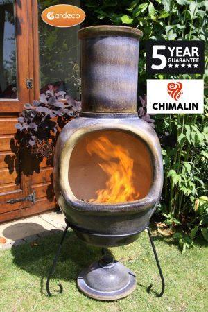 - ASTERIA extra-large chimenea made of Chimalin AFC, inc lid & stand, glazed matt brown gem