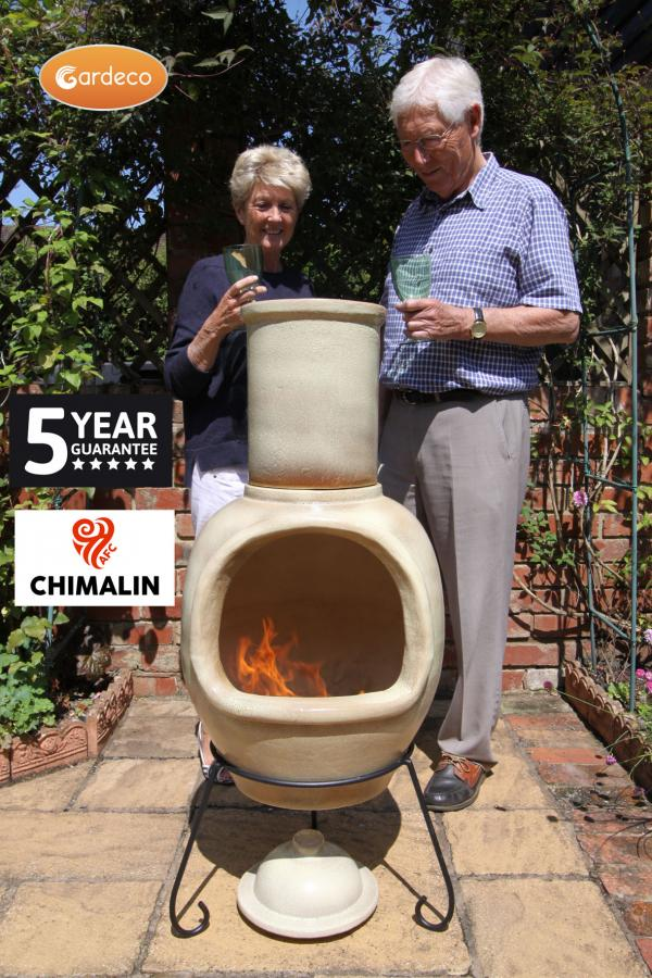 - ASTERIA extra-large chimenea made of Chimalin AFC, inc lid & stand, glazed cappucino