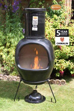 - ASTERIA extra-large chimenea made of Chimalin AFC, inc lid & stand, glazed black