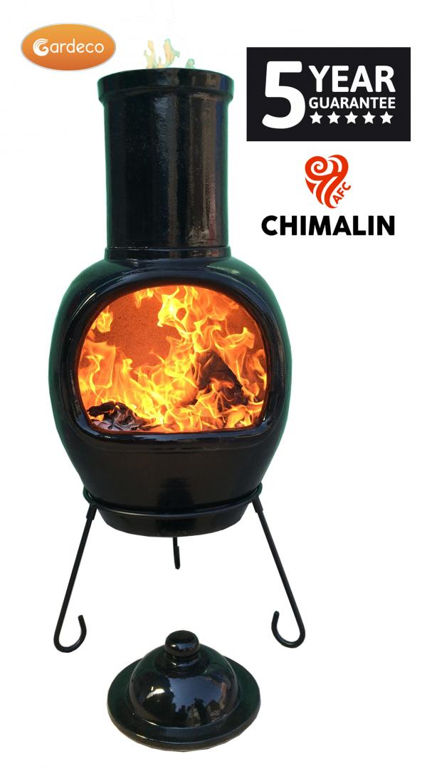 - ASTERIA extra-large chimenea made of Chimalin AFC, inc lid & stand, glazed black