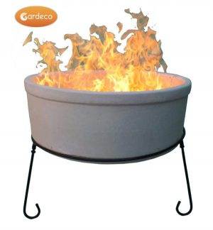 -ATLAS Jumbo fire bowl made of Chimalin AFC, inc stand & BBQ grill, natural clay