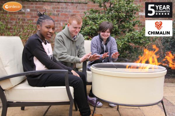 - ATLAS Jumbo fire bowl made of Chimalin AFC, inc stand & BBQ grill, glazed ivory