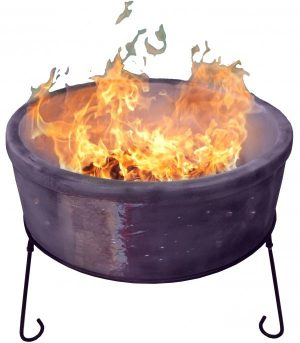 - ATLAS Jumbo fire bowl made of Chimalin AFC, inc stand & BBQ grill, glazed  purple