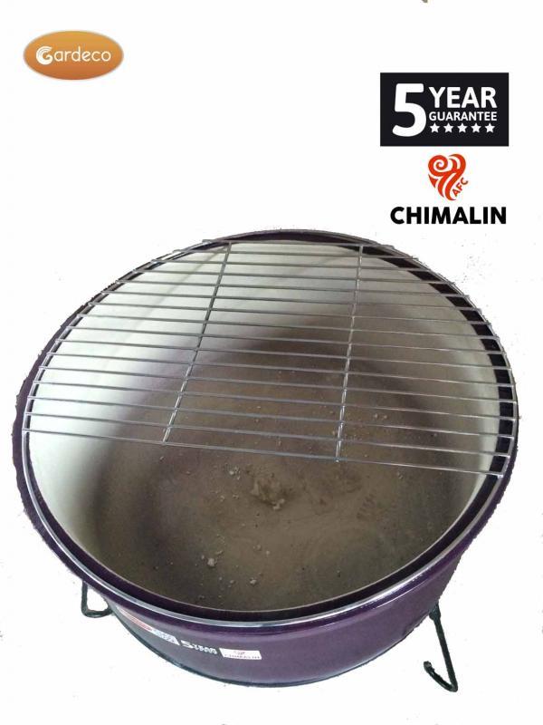- ATLAS Jumbo fire bowl made of Chimalin AFC, inc stand & BBQ grill, glazed  purple