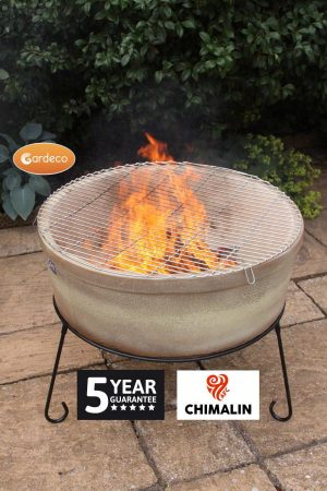 -ATLAS Jumbo fire bowl made of Chimalin AFC, inc stand & BBQ grill, glazed cappucino