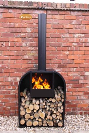 -Arno Log fireplace with rounded shoulders- extra-large 200cm overall height