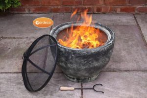 - Brasilia clay fire pit, granite effect paint