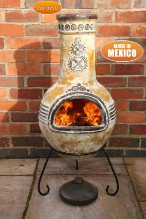 - Large Azteca Mexican Chimenea in Yellow