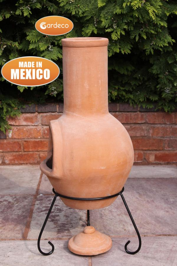 - Large Mexican Chimenea Colima natural terracotta including stand and lid