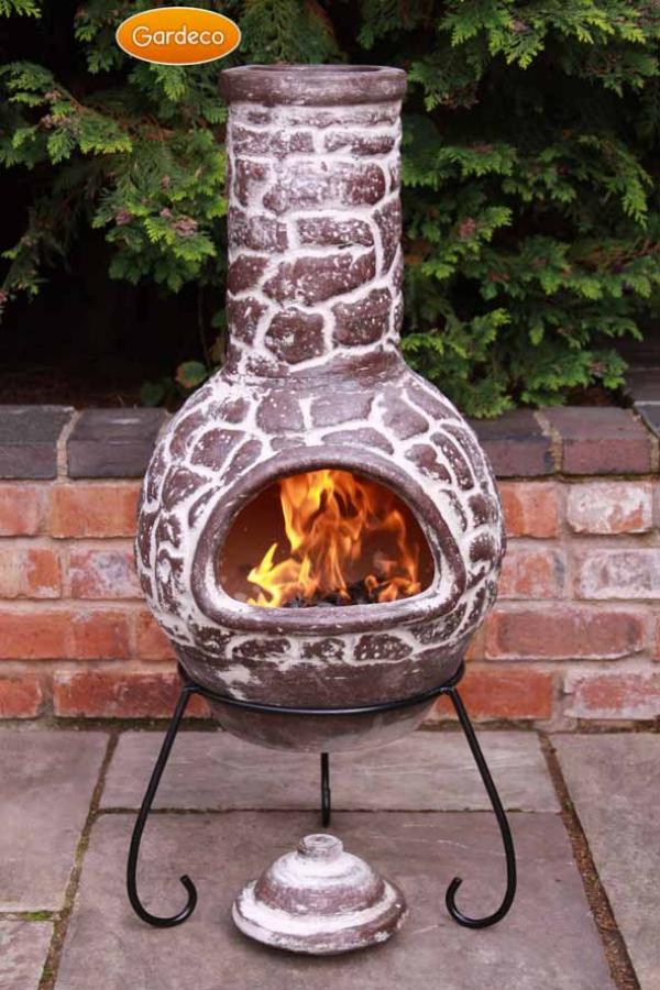 -Large Cantera Mexican Chimenea, Lid & Stand