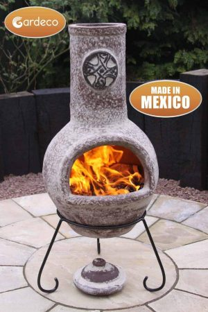- Large Mexican Chimenea Cruz in brushed sandstone including stand and lid