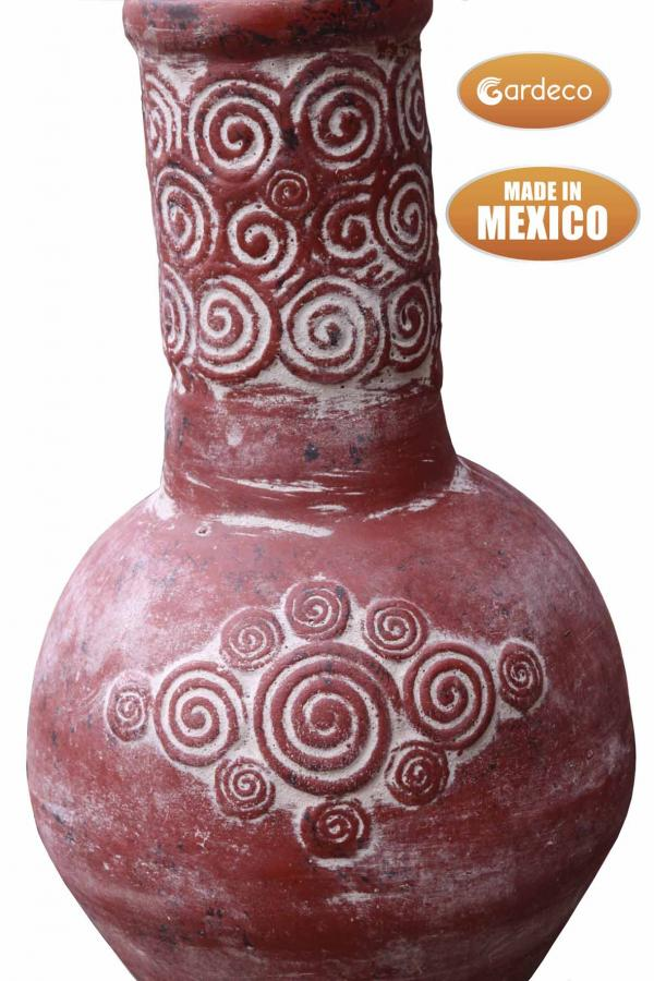 - Large Espiral, Mexican Chimenea in red, lid & stand