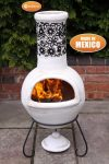 - Large Flor, Mexican Chimenea in black & beige incl. lid & stand