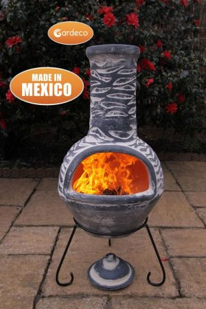 - Large Olas Mexican Chimenea in Bluey Grey