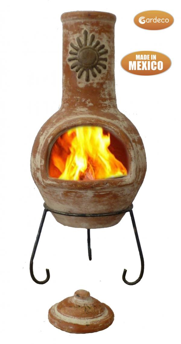 - Large Mexican Chimenea Sol rustic orange including stand and lid
