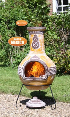 - Extra-Large Azteca Mexican Chimenea in Yellow