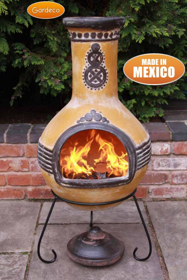 -Extra-Large Azteca Mexican Chimenea in Yellow