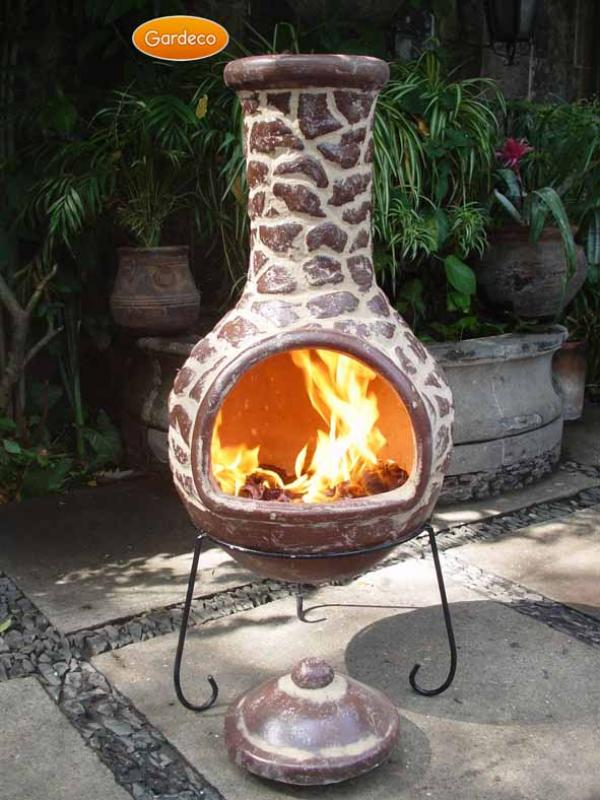 -Extra-Large Cantera Mexican Chimenea in Brown