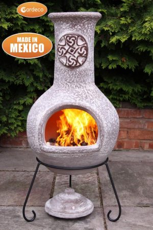 -Extra-Large Mexican Chimenea Cruz in brushed sandstone including stand and lid