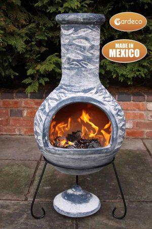 -Extra-Large Olas Mexican Chimenea in Bluey Grey