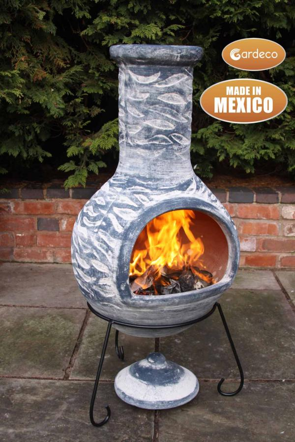 -Extra-Large Olas Mexican Chimenea in Bluey Grey