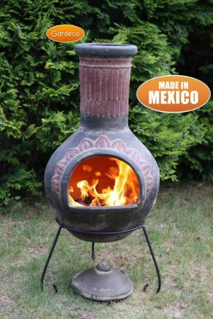 - Extra-Large Plumas Mexican Chimenea in Green