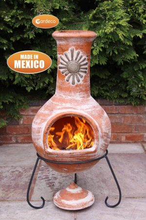 -Extra-Large Mexican Chimenea Sol rustic orange including stand and lid