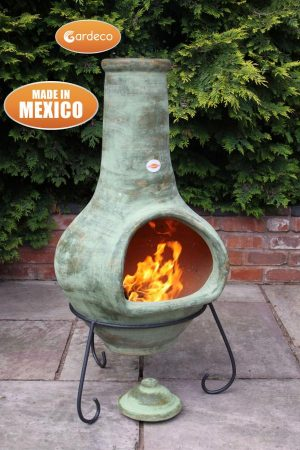 - Jumbo Mexican Chimenea Tibor green including stand and lid