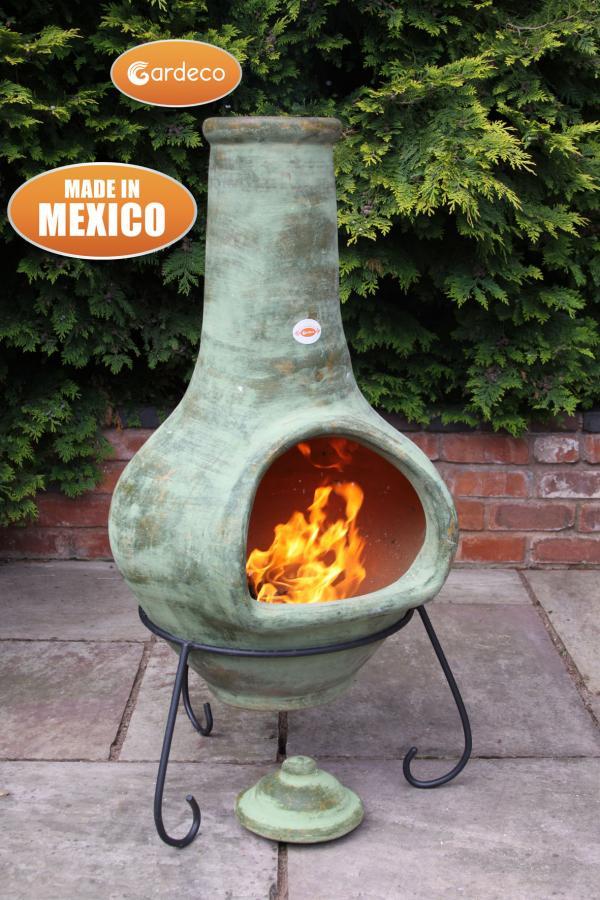 -Jumbo Mexican Chimenea Tibor green including stand and lid