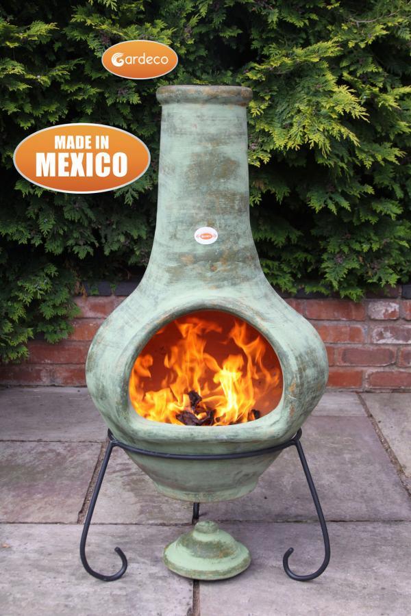 - Jumbo Mexican Chimenea Tibor green including stand and lid