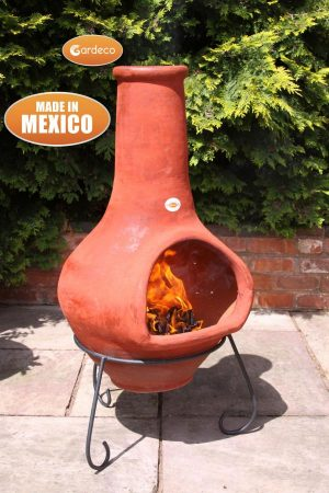 - Jumbo Mexican Chimenea Tibor brown including stand and lid