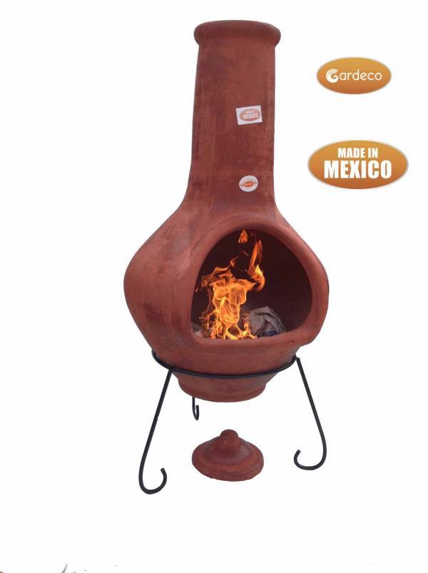 - Jumbo Mexican Chimenea Tibor brown including stand and lid