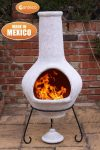- Jumbo Mexican Chimenea Tibor mottledd pale grey including stand and lid