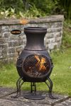 -Billie Small Cast Iron Chimenea, Bronze