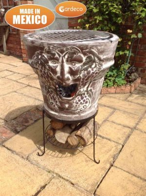 - Asadro Bacchus, clay BBQ, including BBQ grill and stand,size:61cm dia x 86 cm H