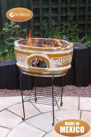 - Asador Azteca , large oval ochre clay Mexican BBQ including stand and grill with Azteca motives