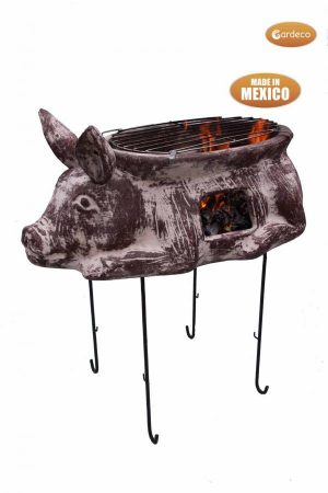 -Asador Cerdito, large brown clay Mexican BBQ including stand and grill, in the shape of a pig!