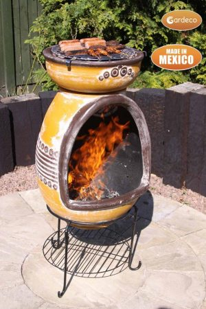 - Asador Parilla, large clay BBQ chimenea with Azteca motives