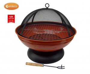 - Confetti fire pit, enamel coated orange, inc BBQ grill