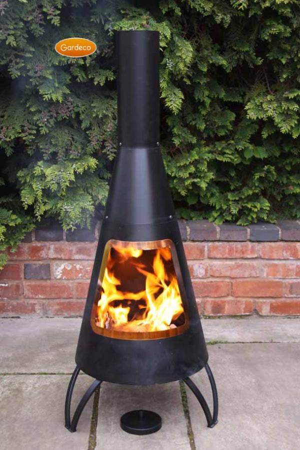 - Cono, large conical shaped steel chimenea,with copper coloured mouth rim