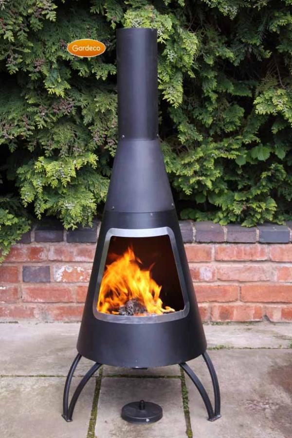 -Cono large conical shaped steel chimenea, stainless steel mouth rim