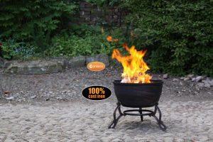 - Elidir cast iron fire bowl with decorative legs, inc BBQ grill