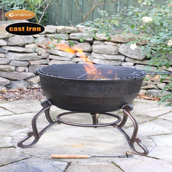 - Elidir cast iron fire bowl with decorative legs, inc BBQ grill