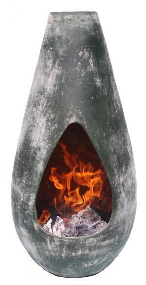- Gota Medium, highly decorative and original Mexican chimenea, oxidised green
