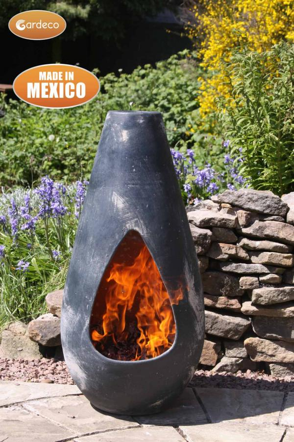 - Gota Medium, highly decorative and original Mexican chimenea, oxidised green