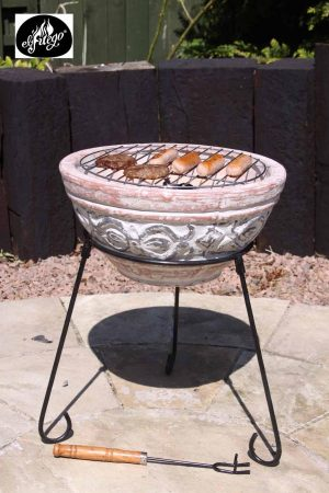 - Hidalgo small clay fire pit including stand 35cm dia